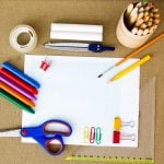 Selection of various individual school supplies