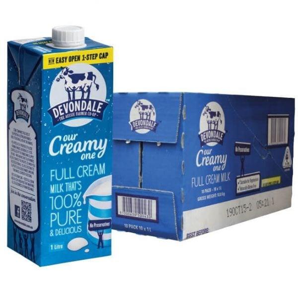 Devondale Full Cream Milk 1 litre (carton of 10)