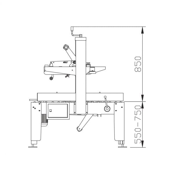 Packline PMCS-100 Technical Drawing (Side)